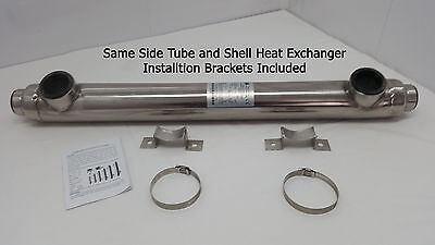 55k BTU Stainless Steel Tube and Shell w/Same Side Ports for Pools/Spas
