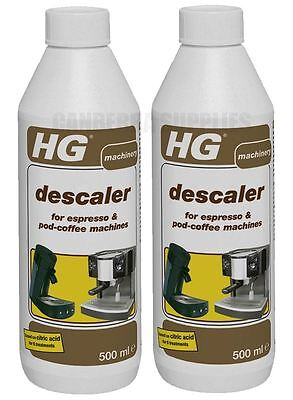 Hg Hagesan Descaler For Espresso & Coffee Pod Machines Cleaner 500Ml - Twin Pack