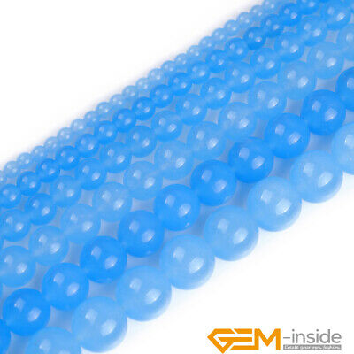 "Light Blue Jade Gemstone Round Beads For Jewelry Making 15"" 6mm 8mm 10mm 12mm"