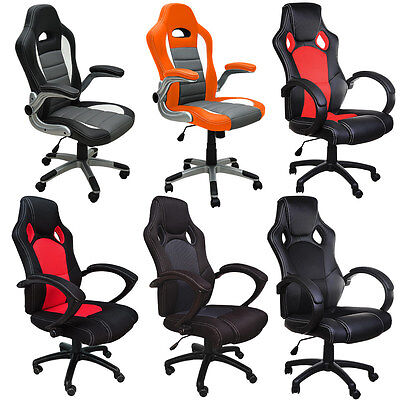 Office Chair Desk chair Racing Gaming Office Chairs Pu Leather-Swivel Adjustable