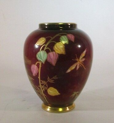 Vintage Carlton Ware Rouge Royal Vase w/ Dragonfly Floral & Gold Gilt