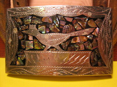 UNUDUAL Old Hand Engraved Inlaid Road Runner Hand Made Belt Buckle MAKE OFFER