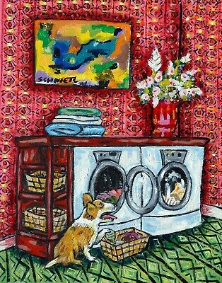 EGRET laundry room  art print animals artist gift new impressionism 11x14