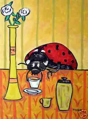 LADYBUG COFFEE picture insect art  poster GLOSSY PRINT13x19