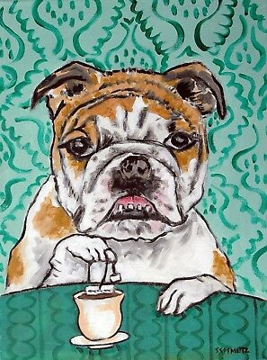 bulldog dog steeping tea repoduction from painting 8.5x11 glossy photo print