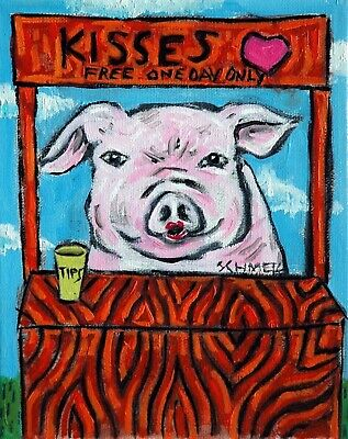 pink pig  poster gift  modern folk art kissing booth 4x6  GLOSSY PRINT