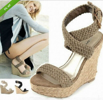 Women's Braided Rope Platform Wedge Strappy Open Toes High Heel Shoes Sandals