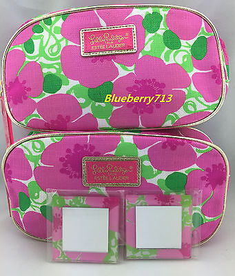 2 Bags:  Lilly Pulitzer  Estee Lauder  Floral Cosmetic Makeup Bag with Mirror