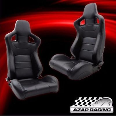 Black Pvc XL Leather Racing Seats Version 2 W/ Slider Pair For Honda Ford & More