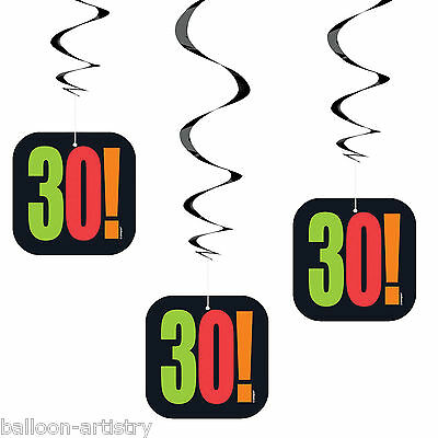 3 Cheery Balloons Black 30th Birthday Party Hanging Cutout Swirl Decorations