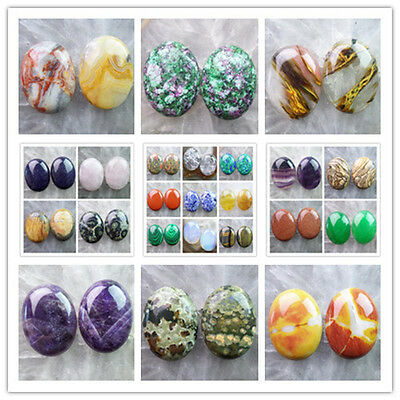 40x30mm Mixed Gemstone Oval CAB CABOCHON  2pcs Or 4pcs please Pick Stone! LX-2