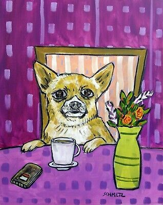 Chihuahua coffee signed wall art PRINT 13x19 gift new JSCHMETZ