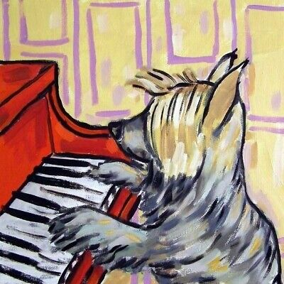 Australian silky terrier dog piano art tile coaster gift JSCHMETZ modern folk