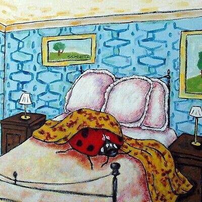 LADYBUG bedroom art tile coaster gift modern folk JSCHMETZ