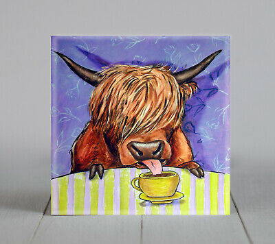 west highland cow at the cafe coffee shop animal art tile coaster gift