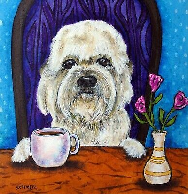 Dandie Dinmont coffee dog art tile coaster gift