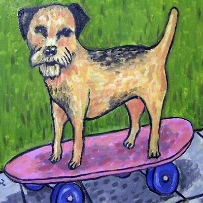 Border Terrier dog art TILE coaster abstract folk pop art JSCHMETZ skateboard
