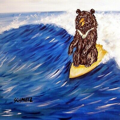 black bear surfing surfer art tile coaster gift gifts coasters