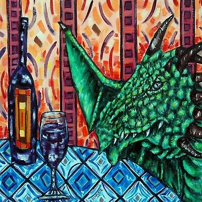 dragon art print on ceramic tile COASTER gift JSCHMETZ modern folk art wine