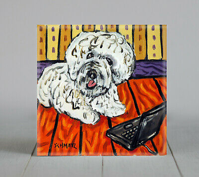 Bichon Frise dog art PRINT on ceramic tile coaster gift JSCHMETZ modern laptop