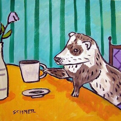 ferret at the cafe coffee shop art tile coaster gift gifts modern