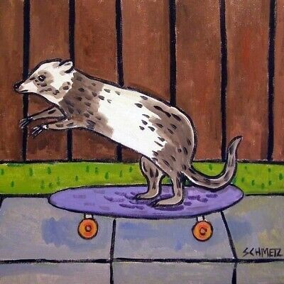 skate boarding ferret art print on ceramic TILE coaster gift JSCHMETZ