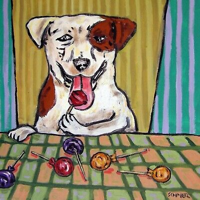jack russell lollipop picture gift dog art tile coaster