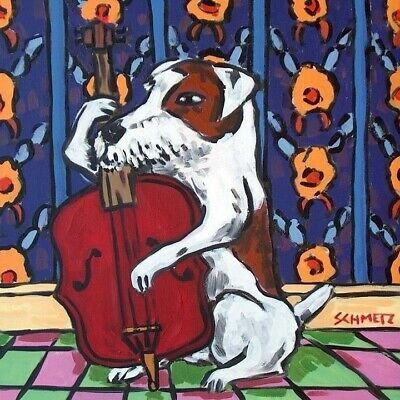 jack russell terrier dog art print on ceramic tile coaster gift stand up bass