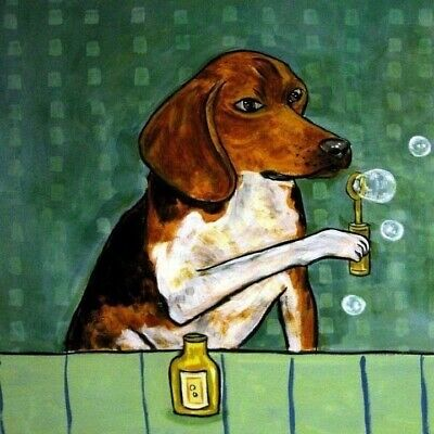Beagle blowing bubbles dog art tile coaster gift gifts coasters tiles modern