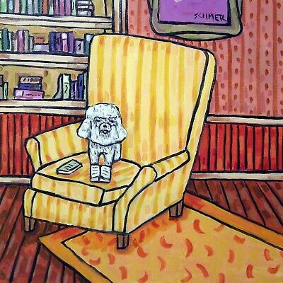 LIBRARY Art with a BICHON FRISE dog print on modern TILE coaster gift JSCHMETZ