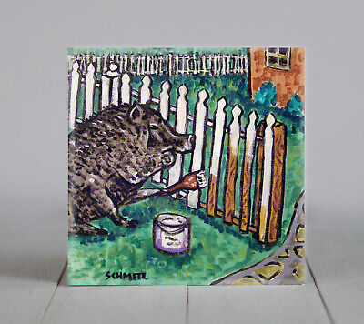 pig art ceramic TILE coaster gift abstract folk pop art JSCHMETZ fence painting