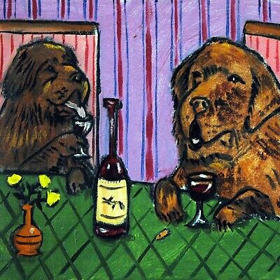 Newfoundlands at the wine bar picture dog art tile coaster gift