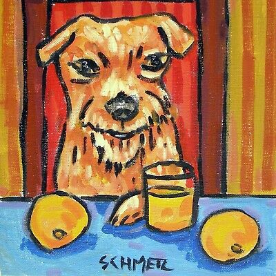 irish terrier coaster dog art ceramic TILE abstract folk pop art JSCHMETZ orange
