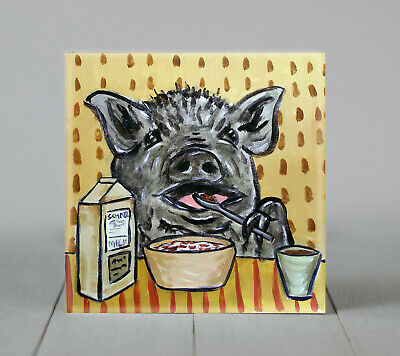 pig eating cerreal art tile coaster gift