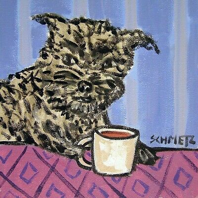 affenpinscher at the coffee cafe picture dog tile art