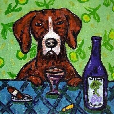 Pointer wine picture animal dog art pet tile coaster