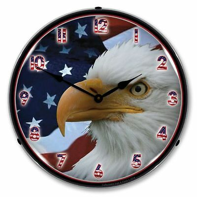 New  American Bald Eagle Retro Backlit Lighted Clock - Free Shipping* & Handling