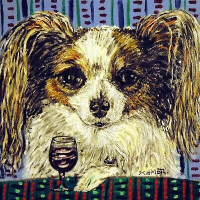 papillon dog art tile COASTER gift JSCHMETZ modern folk ceramic art wine