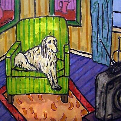 Afghan hound - tile - ceramic coaster - modern dog art- gift- new
