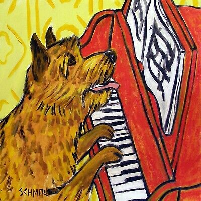 Norwich Terrier pop art TILE coaster gift JSCHMETZ piano paper weight folk art