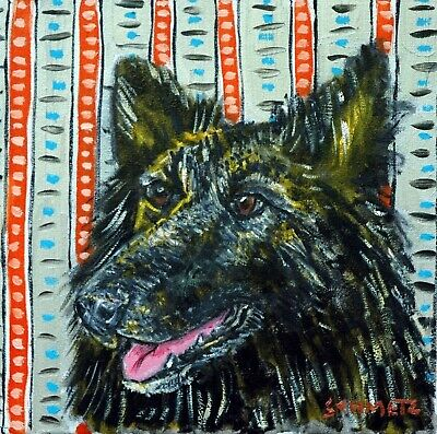 belgian shepherd dog art tile COASTER gift JSCHMETZ modern folk art