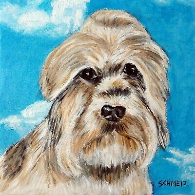 dandie dinmont with the sky dog art tile coaster gift impressionism