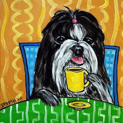 COFFEE art with a shih tzu dog print on modern ceramic TILE COASTER gift