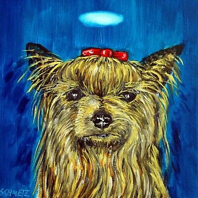 yorkie yorkshire terrier angel dog art tile coaster coasters gift gifts