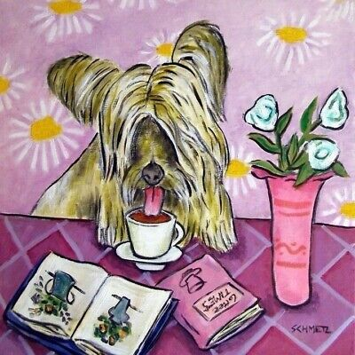 SKYE TERRIER dog PRINT on ceramic tile coaster modern coffee folk art 4.25x4.25