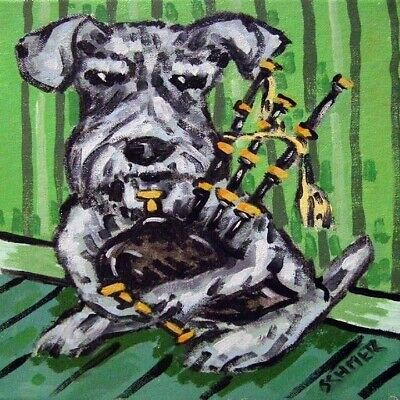 PRINT of a SCHNAUZER dog playing bagpipes on ceramic tile coaster gift JSCHMETZ
