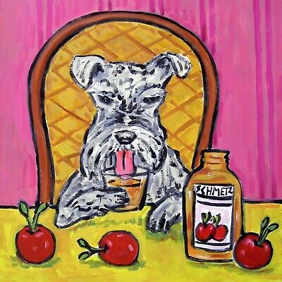 SCHNAUZER dog art APPLE JUICE kitchen picture coaster TILE JSCHMETZ american art