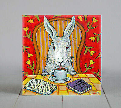 bunny rabbit at the cafe coffee shop art tile coaster gift artwork modern