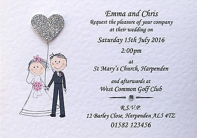 50 Handmade Personalised Wedding Invitations Day / Evening Many Heart colours