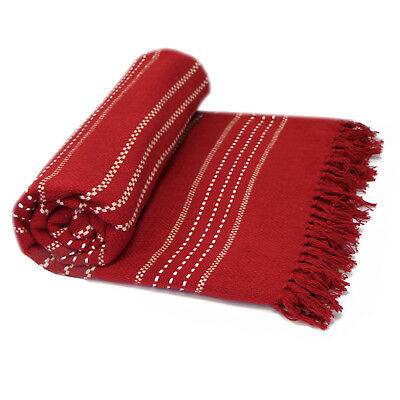 100% Cotton Woven Throw Over - Red Bedspread Bed Throw